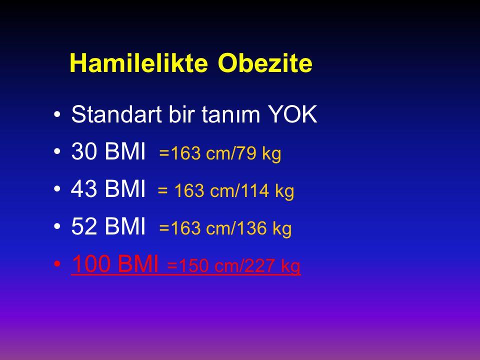Hamilelikte Obezite Standart bir tanım YOK 30 BMI =163 cm/79 kg