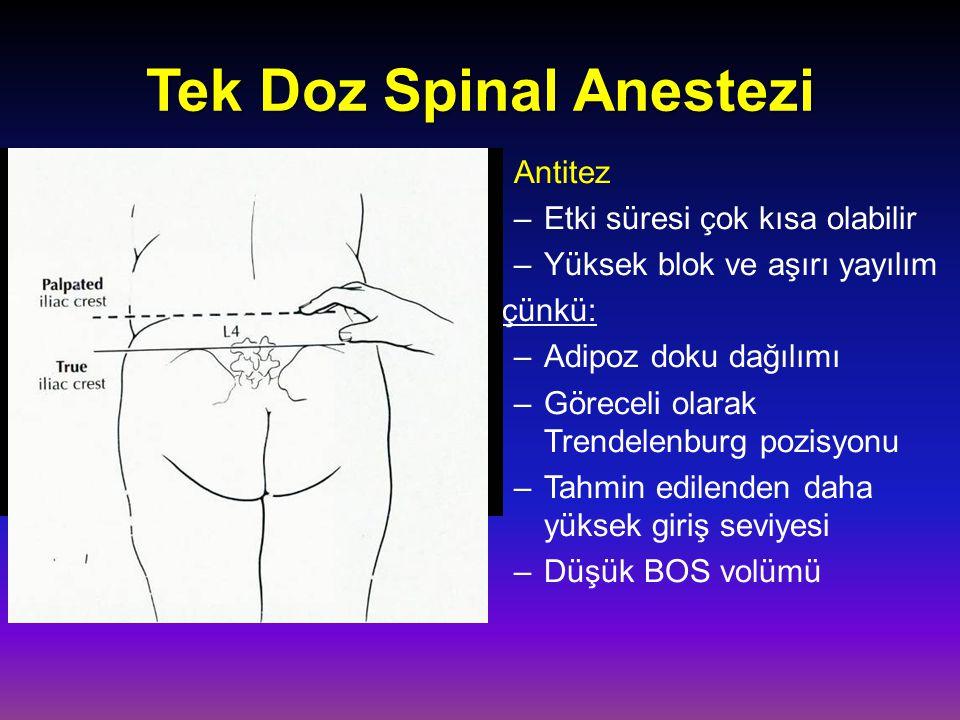 Tek Doz Spinal Anestezi