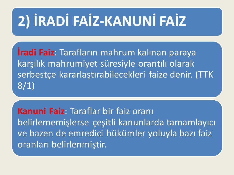 2) İRADİ FAİZ-KANUNİ FAİZ