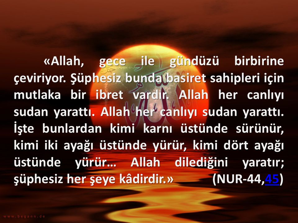 «Allah, gece ile gündüzü birbirine çeviriyor