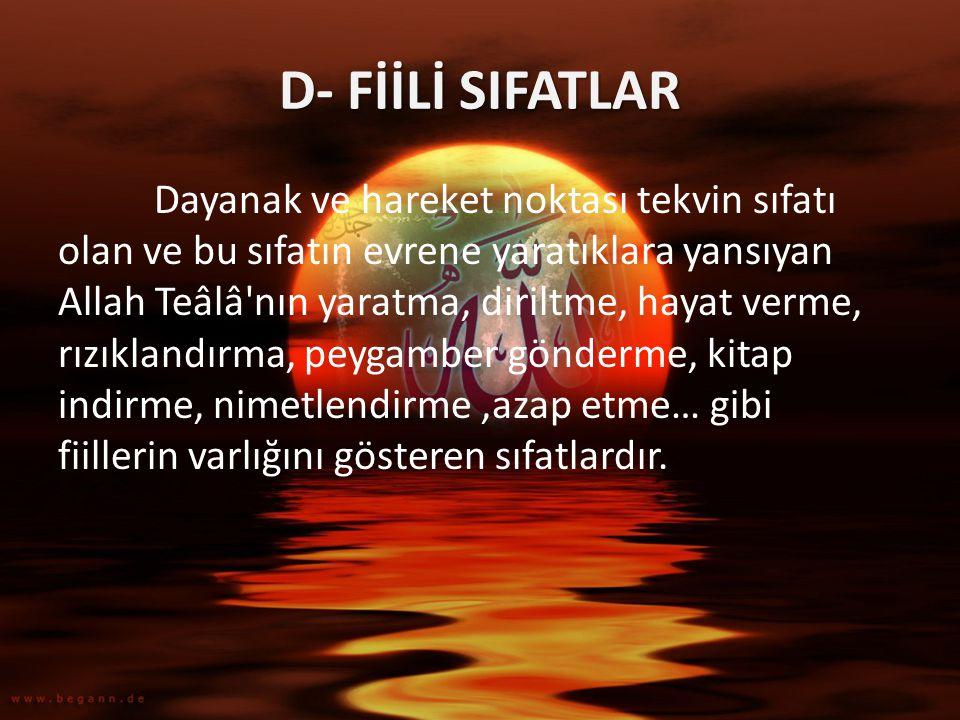 D- FİİLİ SIFATLAR