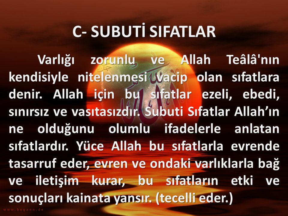 C- SUBUTİ SIFATLAR