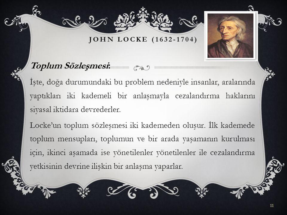 John Locke (1632-1704) Toplum Sözleşmesi: