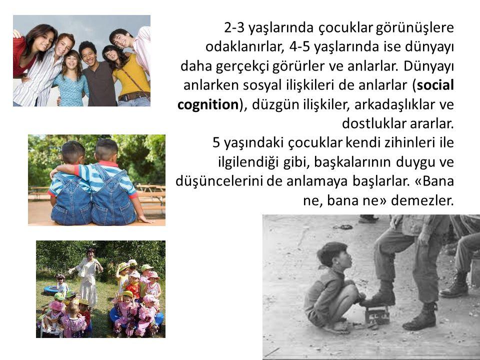 2-3 yaşlarında çocuklar görünüşlere odaklanırlar, 4-5 yaşlarında ise dünyayı daha gerçekçi görürler ve anlarlar. Dünyayı anlarken sosyal ilişkileri de anlarlar (social cognition), düzgün ilişkiler, arkadaşlıklar ve dostluklar ararlar.