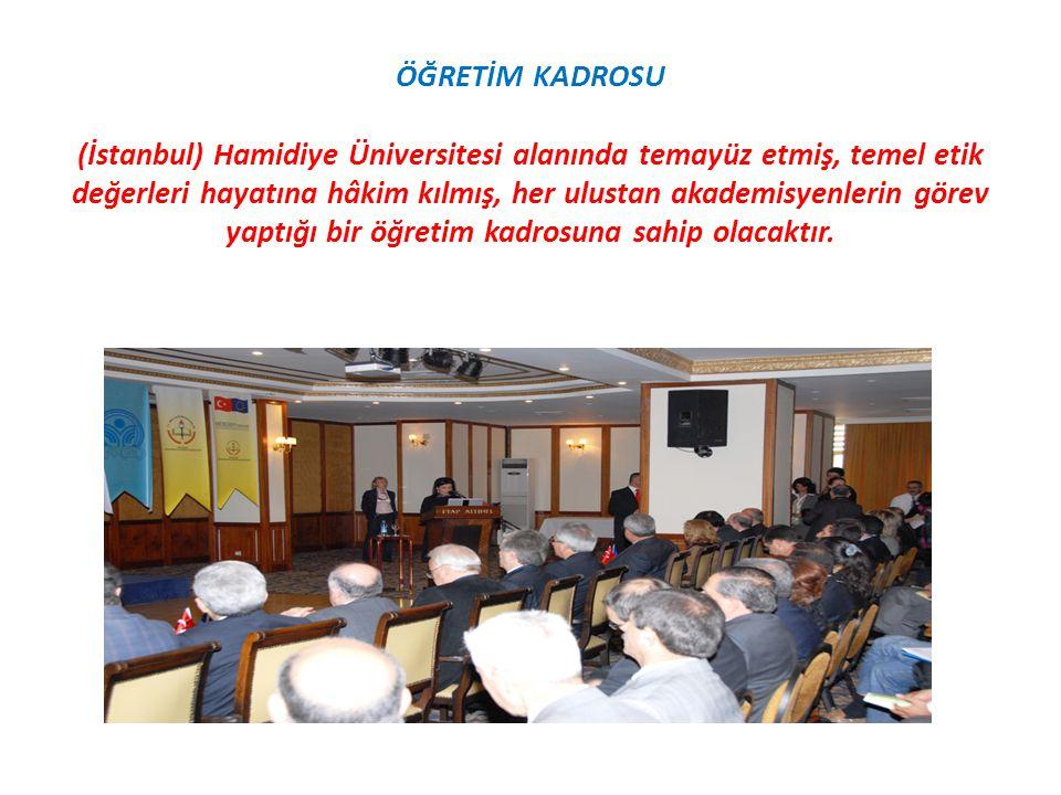 ÖĞRETİM KADROSU (İstanbul) Hamidiye Üniversitesi alanında temayüz etmiş, temel etik değerleri hayatına hâkim kılmış, her ulustan akademisyenlerin görev yaptığı bir öğretim kadrosuna sahip olacaktır.