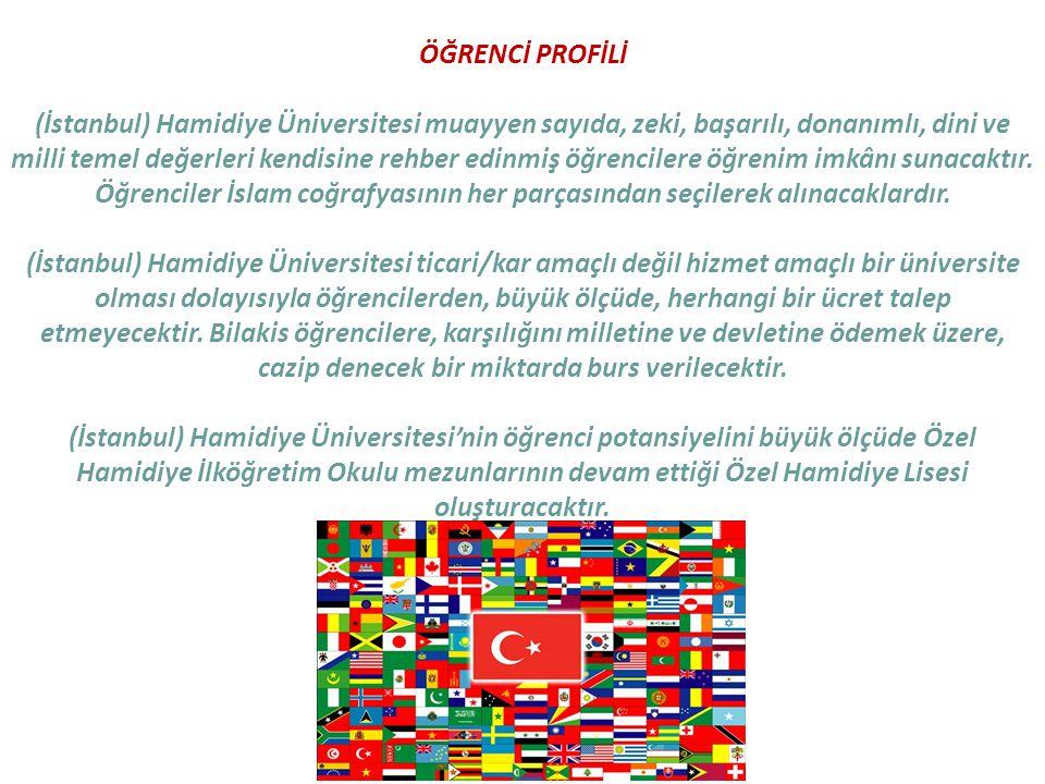 ÖĞRENCİ PROFİLİ (İstanbul) Hamidiye Üniversitesi muayyen sayıda, zeki, başarılı, donanımlı, dini ve milli temel değerleri kendisine rehber edinmiş öğrencilere öğrenim imkânı sunacaktır.