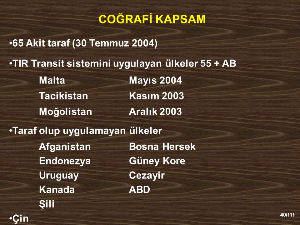 COĞRAFİ KAPSAM 65 Akit taraf (30 Temmuz 2004)