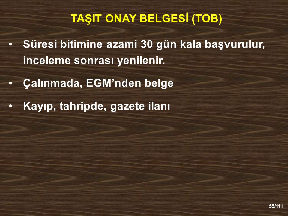 TAŞIT ONAY BELGESİ (TOB)