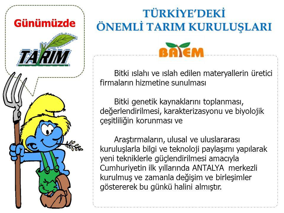 TÜRKİYE'DEKİ ÖNEMLİ TARIM KURULUŞLARI