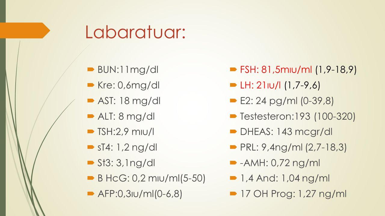 Labaratuar: BUN:11mg/dl Kre: 0,6mg/dl AST: 18 mg/dl ALT: 8 mg/dl