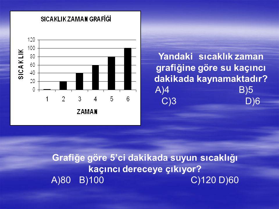 Grafiğe göre 5'ci dakikada suyun sıcaklığı kaçıncı dereceye çıkıyor