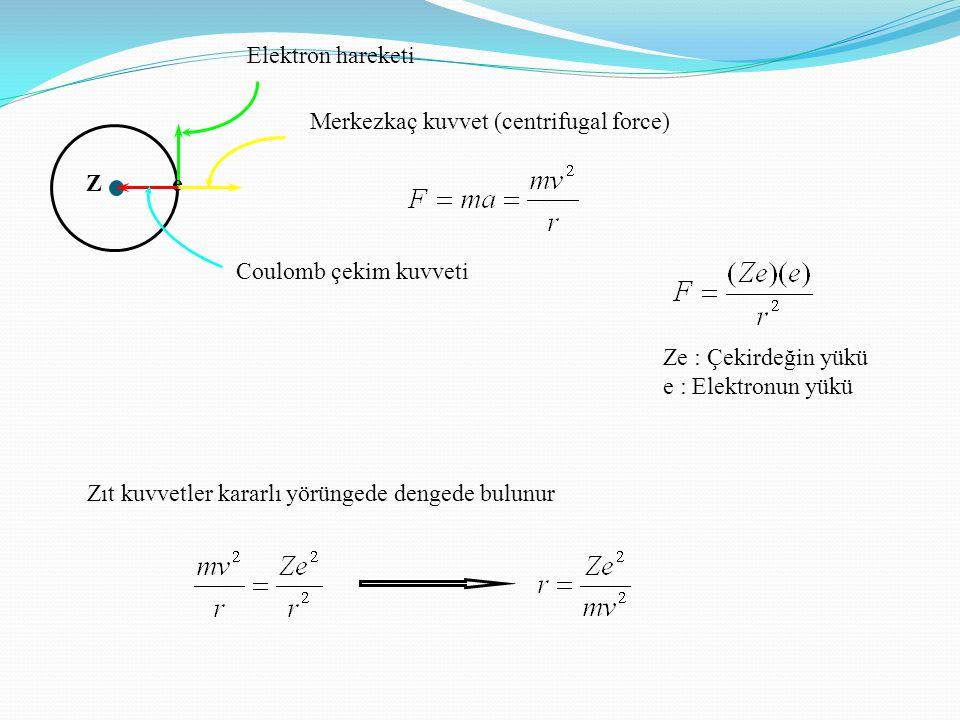 Elektron hareketi Merkezkaç kuvvet (centrifugal force) Z. e. Coulomb çekim kuvveti. Ze : Çekirdeğin yükü.