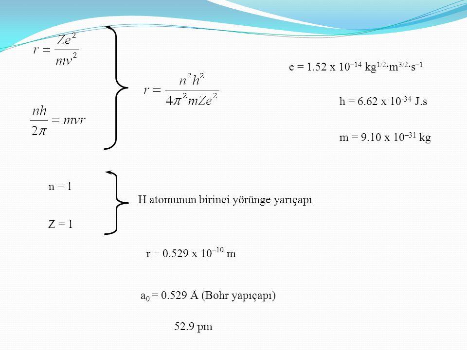 e = 1.52 x 10–14 kg1/2·m3/2·s–1 h = 6.62 x 10-34 J.s. m = 9.10 x 10–31 kg. n = 1. H atomunun birinci yörünge yarıçapı.