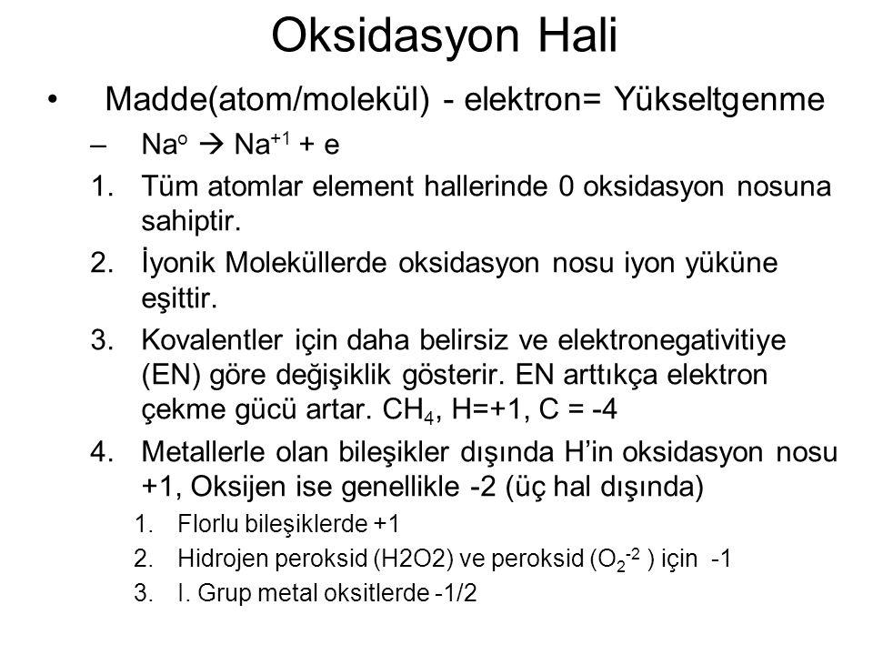 Oksidasyon Hali Madde(atom/molekül) - elektron= Yükseltgenme