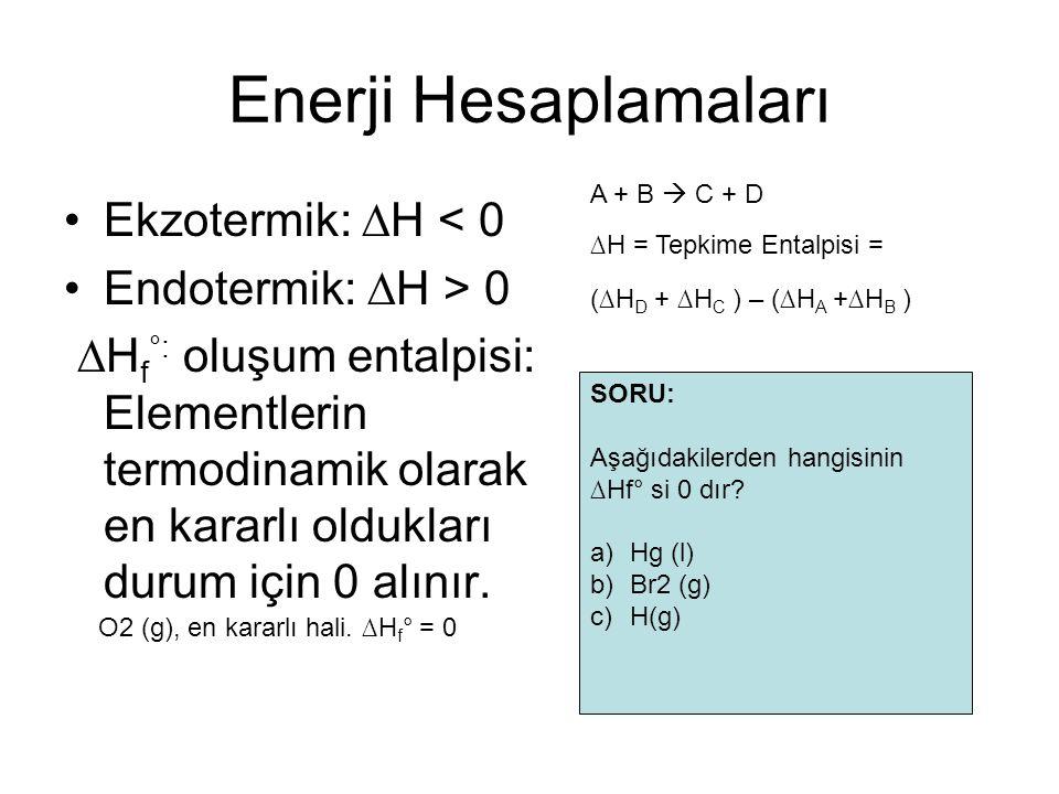 Enerji Hesaplamaları Ekzotermik: ∆H < 0 Endotermik: ∆H > 0
