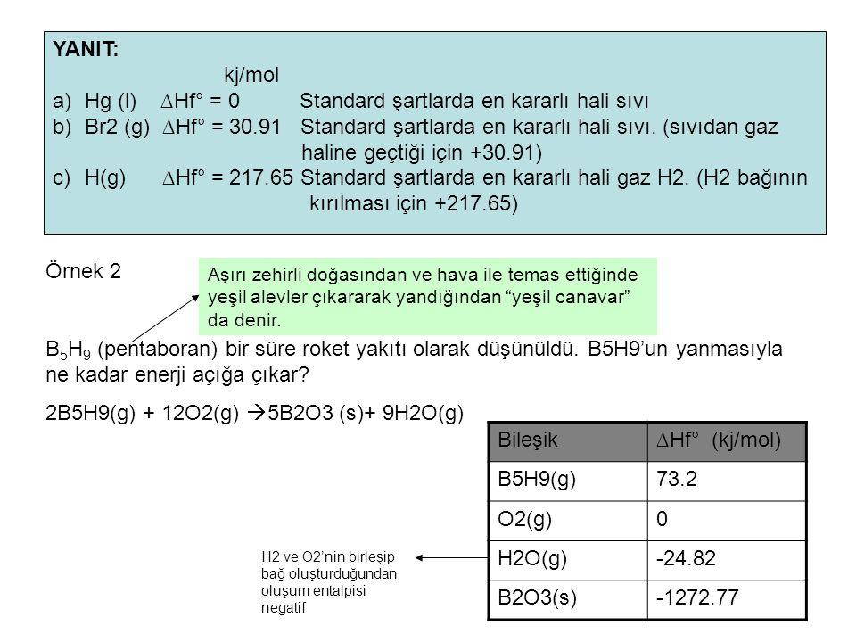 Hg (l) ∆Hf° = 0 Standard şartlarda en kararlı hali sıvı