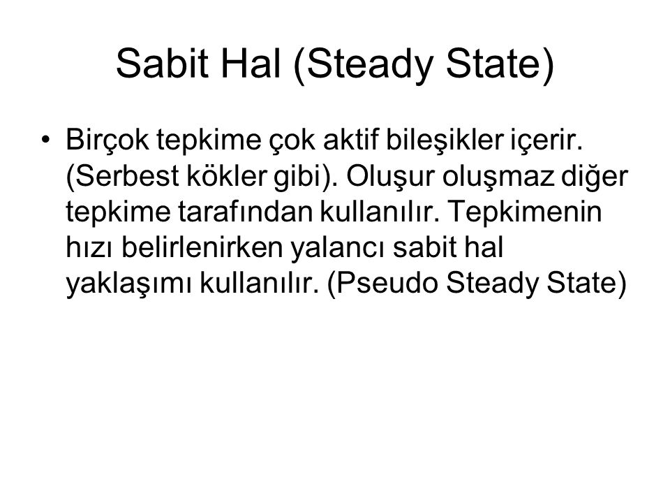 Sabit Hal (Steady State)