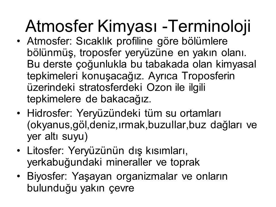 Atmosfer Kimyası -Terminoloji