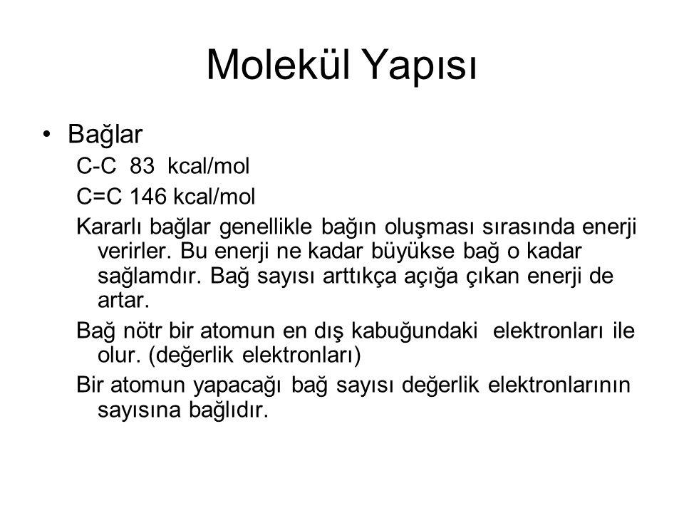 Molekül Yapısı Bağlar C-C 83 kcal/mol C=C 146 kcal/mol