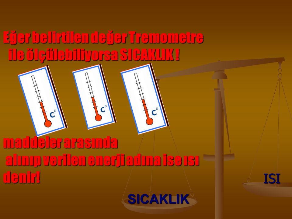 Eğer belirtilen değer Tremometre ile ölçülebiliyorsa SICAKLIK !