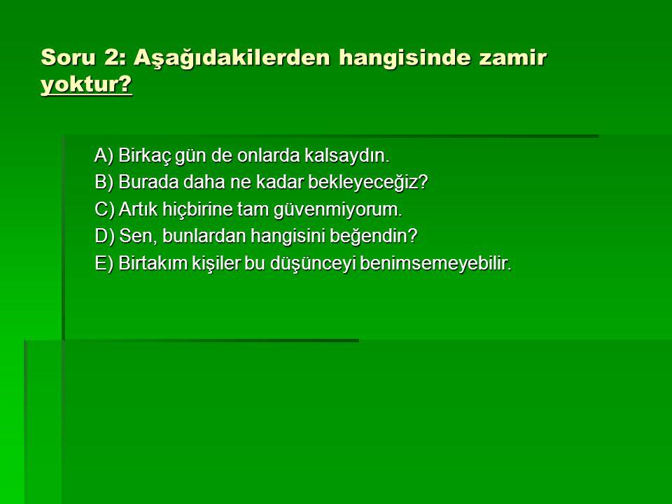 Soru 2: Aşağıdakilerden hangisinde zamir yoktur
