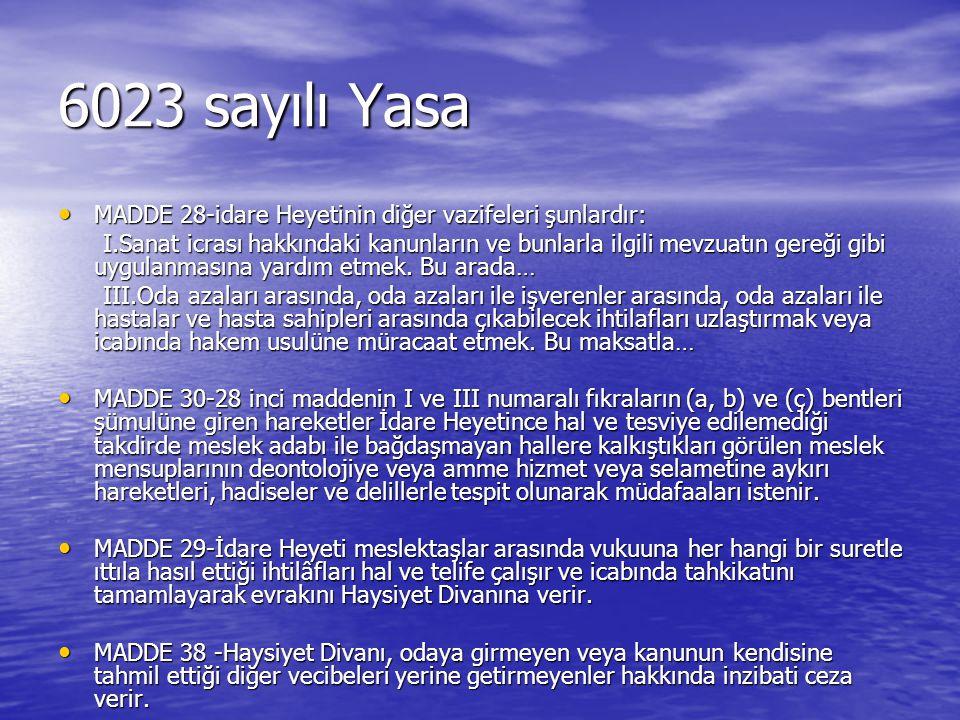 6023 sayılı Yasa MADDE 28-idare Heyetinin diğer vazifeleri şunlardır: