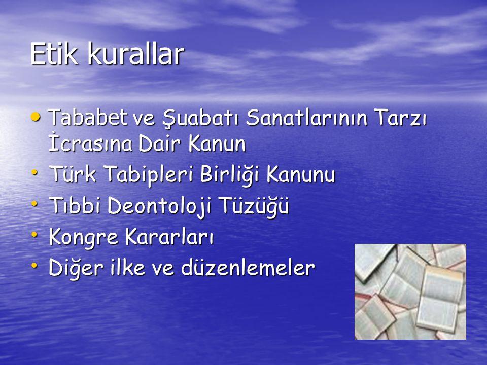 Etik kurallar Tababet ve Şuabatı Sanatlarının Tarzı İcrasına Dair Kanun. Türk Tabipleri Birliği Kanunu.