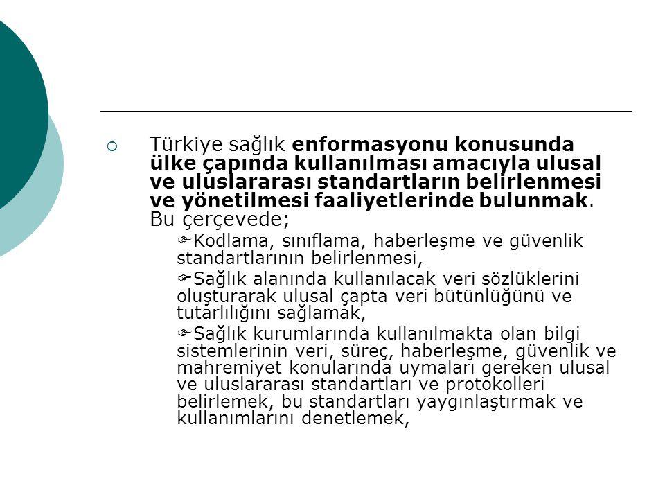 Türkiye sağlık enformasyonu konusunda ülke çapında kullanılması amacıyla ulusal ve uluslararası standartların belirlenmesi ve yönetilmesi faaliyetlerinde bulunmak. Bu çerçevede;