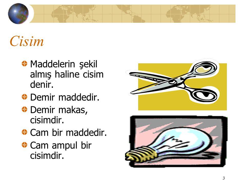 Cisim Maddelerin şekil almış haline cisim denir. Demir maddedir.