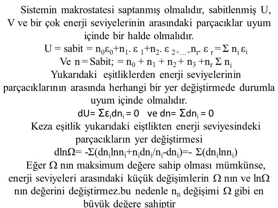 U = sabit = n0ε0+n1. ε 1+n2. ε 2+…+nr. ε r = Σ ni εi