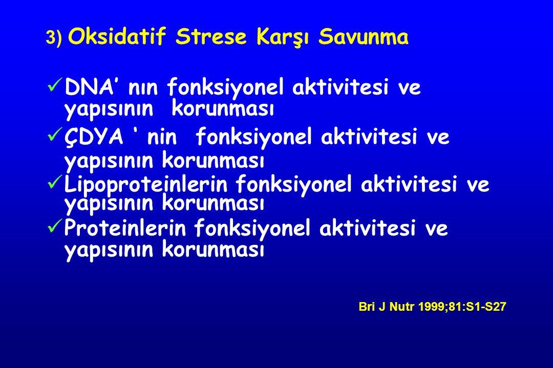 3) Oksidatif Strese Karşı Savunma