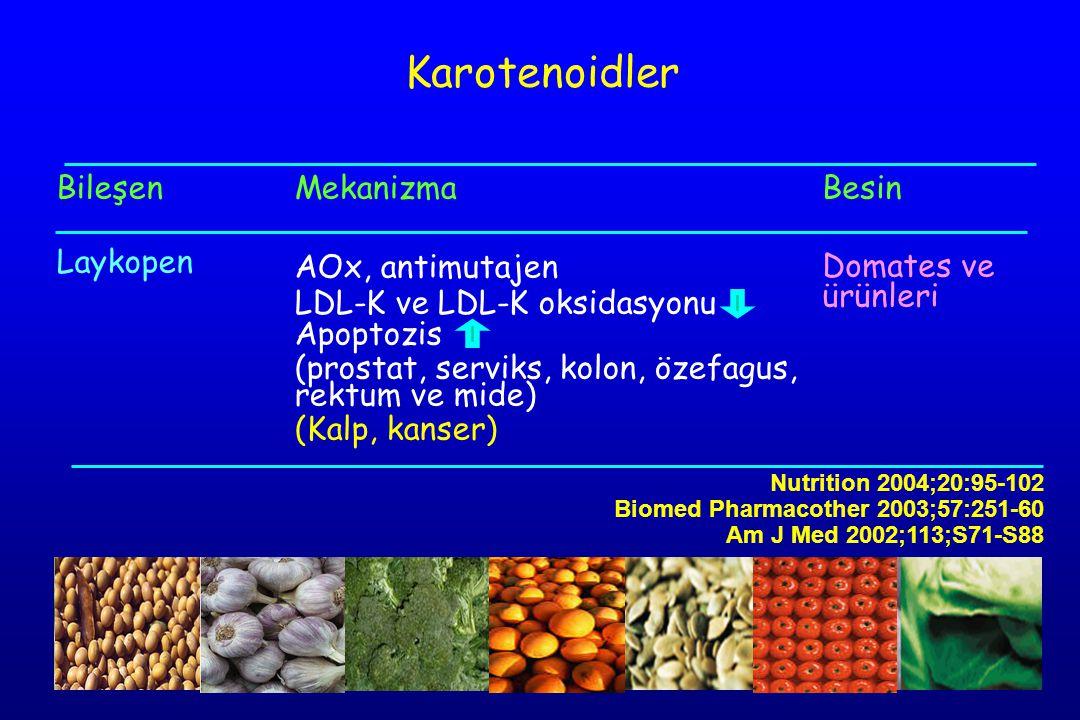 Karotenoidler Bileşen Laykopen Mekanizma AOx, antimutajen