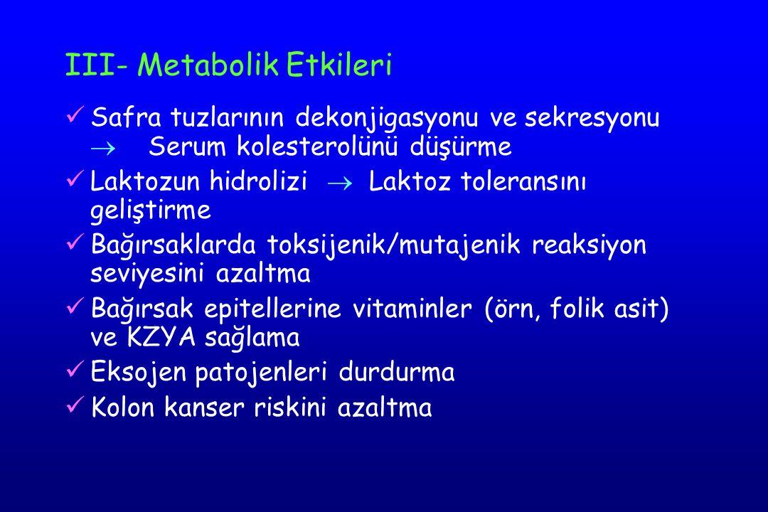 III- Metabolik Etkileri