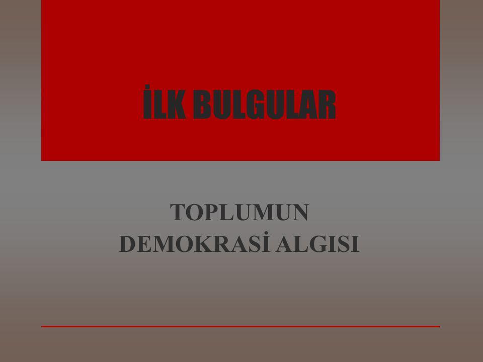 İLK BULGULAR TOPLUMUN DEMOKRASİ ALGISI