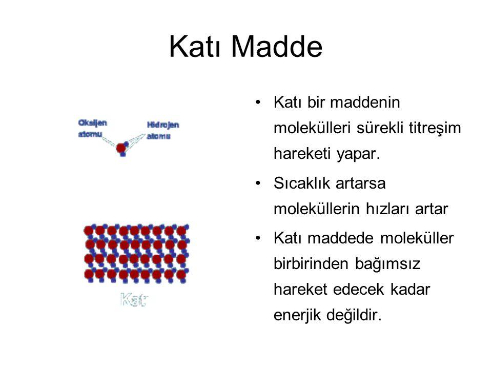 Katı Madde Katı bir maddenin molekülleri sürekli titreşim hareketi yapar. Sıcaklık artarsa moleküllerin hızları artar.