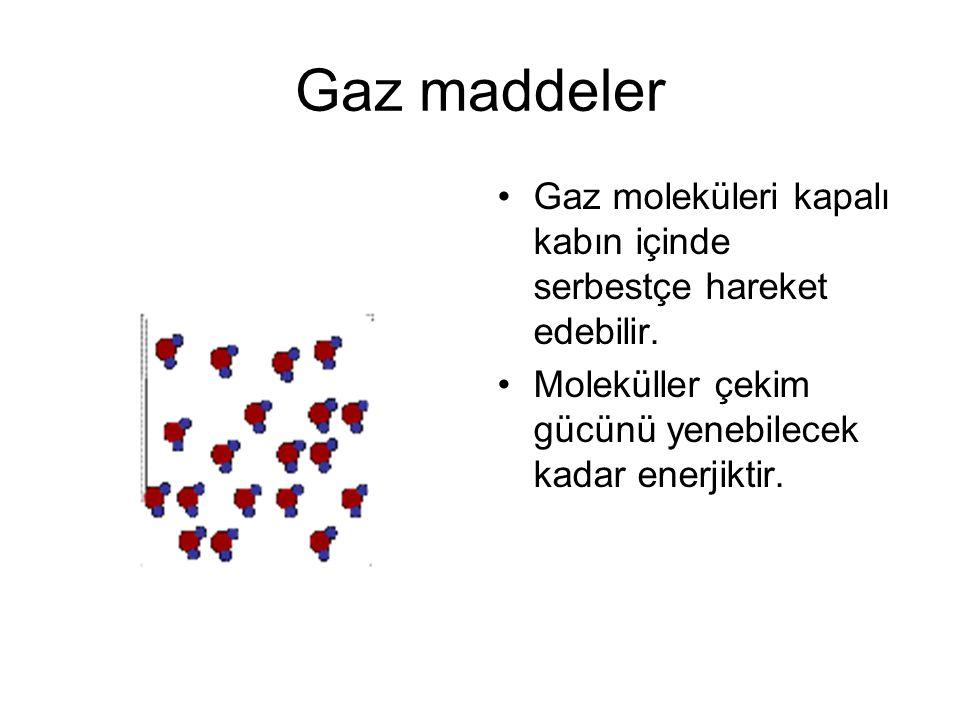 Gaz maddeler Gaz moleküleri kapalı kabın içinde serbestçe hareket edebilir.
