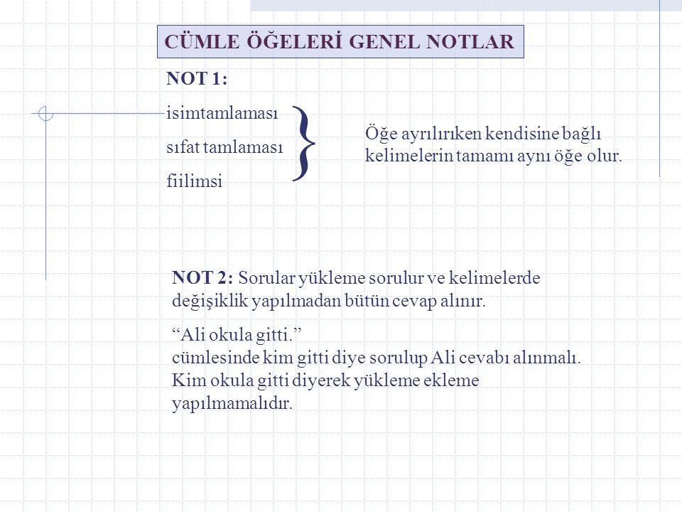 } CÜMLE ÖĞELERİ GENEL NOTLAR NOT 1: isimtamlaması sıfat tamlaması