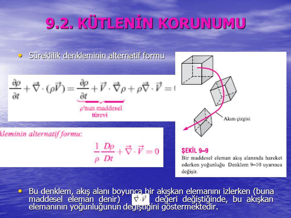 9.2. KÜTLENİN KORUNUMU Süreklilik denkleminin alternatif formu