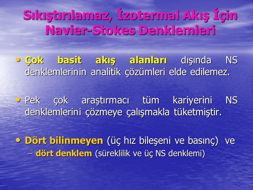 Sıkıştırılamaz, İzotermal Akış İçin Navier-Stokes Denklemleri