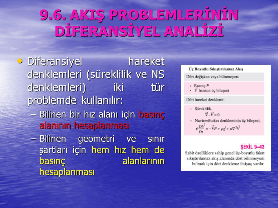 9.6. AKIŞ PROBLEMLERİNİN DİFERANSİYEL ANALİZİ