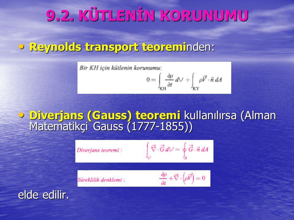 9.2. KÜTLENİN KORUNUMU Reynolds transport teoreminden: