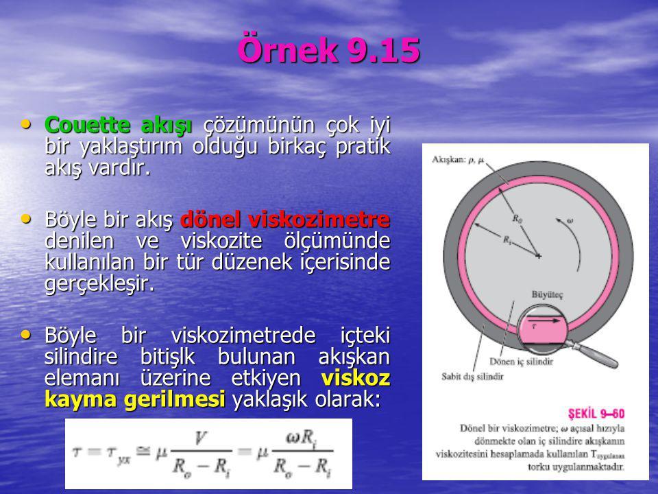 Örnek 9.15 Couette akışı çözümünün çok iyi bir yaklaştırım olduğu birkaç pratik akış vardır.