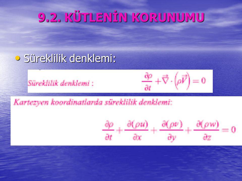 9.2. KÜTLENİN KORUNUMU Süreklilik denklemi: