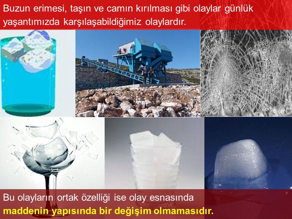 Buzun erimesi, taşın ve camın kırılması gibi olaylar günlük yaşantımızda karşılaşabildiğimiz olaylardır.
