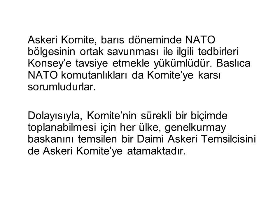 Askeri Komite, barıs döneminde NATO bölgesinin ortak savunması ile ilgili tedbirleri Konsey'e tavsiye etmekle yükümlüdür. Baslıca NATO komutanlıkları da Komite'ye karsı sorumludurlar.