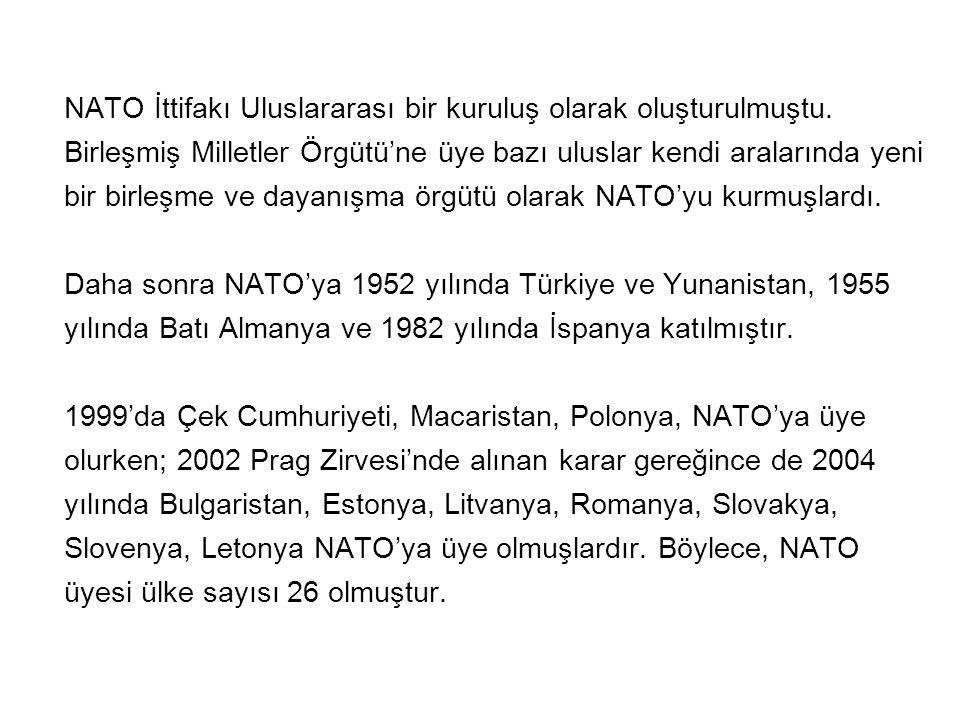 NATO İttifakı Uluslararası bir kuruluş olarak oluşturulmuştu