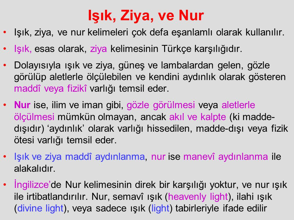 Işık, Ziya, ve Nur Işık, ziya, ve nur kelimeleri çok defa eşanlamlı olarak kullanılır. Işık, esas olarak, ziya kelimesinin Türkçe karşılığıdır.