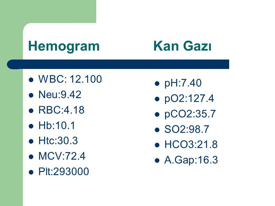 Hemogram Kan Gazı WBC: 12.100 pH:7.40 Neu:9.42 pO2:127.4 RBC:4.18