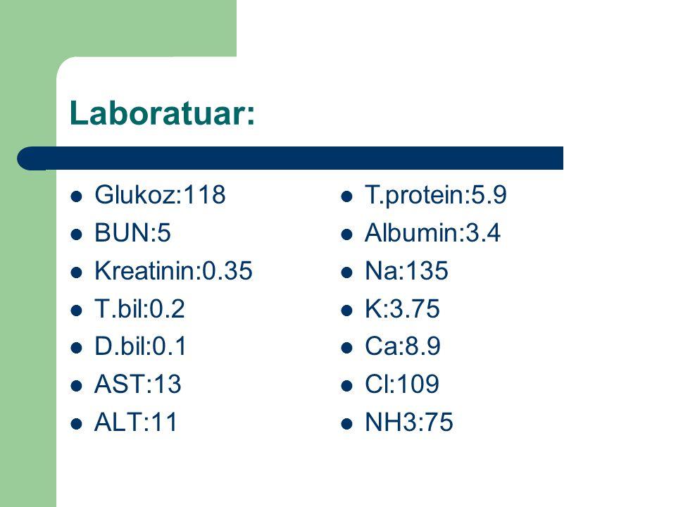 Laboratuar: Glukoz:118 BUN:5 Kreatinin:0.35 T.bil:0.2 D.bil:0.1 AST:13