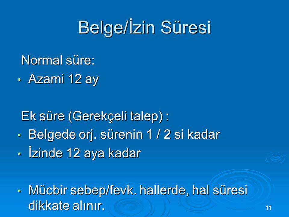 Belge/İzin Süresi Normal süre: Azami 12 ay Ek süre (Gerekçeli talep) :